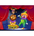 A clown with animals at the stage vector image