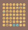 emoticons collection flat emoji set cute smileys vector image