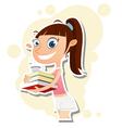 girl holding books vector image