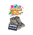 retro style disco attributes - zebra sneakers and vector image