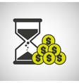 sand clock money coin icon design vector image