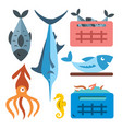 seafood flat style colorful cartoon vector image