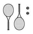 set of tennis rackets and tennis balls vector image