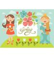 spring girls vector image