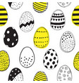 seamless pattern with easter eggs doodles vector image