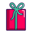pink gift box icon cartoon style vector image