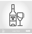Bottle wine and glass outline icon Thanksgiving vector image