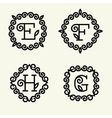 Monogram style linear with the letters e f h g vector image