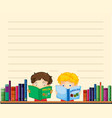 Paper template with boys reading books vector image