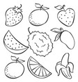 set fruit fresh doodle style vector image