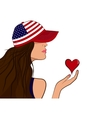 USA patriot girl with a heart vector image