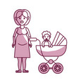 woman pregnant and her baby girl vector image