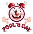 fools day time fun clock show lettering text vector image