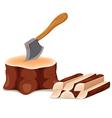 Axe set in chopping block vector image vector image