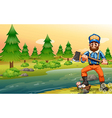 A woodman near the river vector image