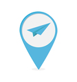 Map pointer with origami paper plane icon Blue mar vector image