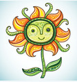 cute friendly eco flower 2 vector image vector image