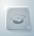 graduate hat Glass square icon with highlights vector image