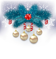 New Year background with fir branches and glass vector image vector image
