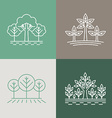 trees and parks logo design elements in linear vector image vector image
