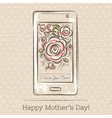 Mothers Day card with smartphone and roses vector image