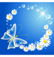 butterfly bubbles and flowers vector image vector image