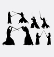 Kendo japanese sport silhouettes vector image