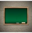 Realistic blackboard on wooden background vector image