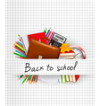 School supplies on a paper Education background vector image