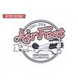 Air fest emblem Biplane label Retro Airplane vector image