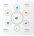 climate flat icons set collection of snow vector image
