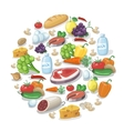 Common everyday food products background Cheese vector image