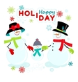 Greeting snowmen family vector image