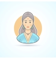 Icon of an Indian woman in traditional cloth vector image