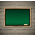 Realistic blackboard on wooden background vector image