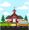 School Building with bus stop vector image