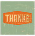 Vintage style thank you greeting card design vector image