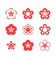 Cherry blossom Sakura Icon set vector image