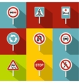 Sign on road icons set flat style vector image