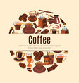 coffee drink round poster for cafe design vector image