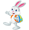 Rabbit cartoon with backpack vector image vector image