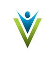 v man letter vector image vector image