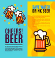 beer in glass mugs set banner vector image