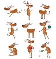 Cartoon deer set vector image