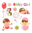 Colorful collection of baby girl announcement vector image