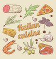 hand drawn italian cuisine doodle with pizza vector image