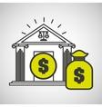 justice bulding bag money icon graphic vector image