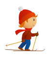 little skier in red hat vector image