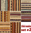 Set of seamless patterns in ethnic style vector image