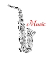 Saxophone with musical notes vector image vector image